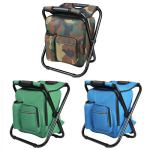 Portable Fishing Chair Stool Backpack Folding Outdoor Beach Travel Camping Bag