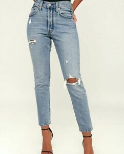 Levi#x27;s Women#x27;s 501 Skinny Jeans Button Fly Size 28 x 28 Distressed 295020034