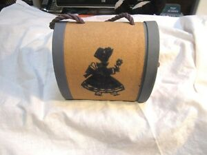 Vintage Old Sewing Box Purse Flocked Sunbonnet Baby Cute Excellent Condition $14.99
