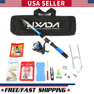 Telescopic Fishing Rods and Spinning Reel Set Pole Bag Lures Combo Set Kit USA