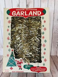 Vintage Tinsel Garland Gold Made in USA Santa amp; Atomic Snowflakes on Box