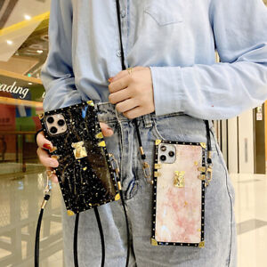 For Samsung Note20 8 9 S20 S21 Epoxy Marble Pattern Metal Square Crossbody Case $11.99