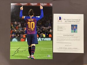 BECKETT LOA LIONEL MESSI Signed Autographed 12x16 Photo FC BARCELONA Soccer RARE $377.98
