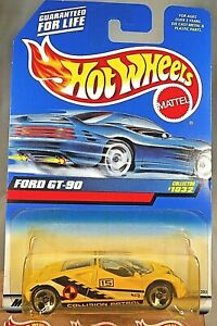 1998 Vintage Hot Wheels Collector #1032 FORD GT 90 Yellow w Chrome 3 Spoke Wheel $7.75