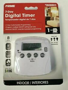 PRIME 7 Day Digital Timer #0608803 Indoor Brand New