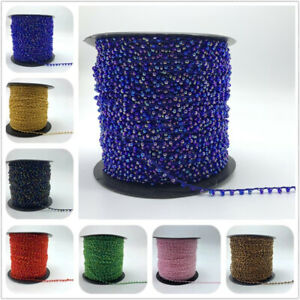 5yards Crystal Beads Lace Trim Ribbon Sequin Fabric Beaded DIY Sewing Decoration $2.29