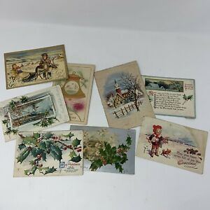 Lot 8 Antique and Vintage Christmas Postcards Domestic International $14.99