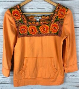 Luck Brand Orange Thick Embroidered Floral Square Neck 3 4 Sleeve Blouse Small S $12.00