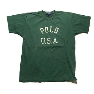 Vintage Polo Sport T Shirt Size M Green Single Stitch Polo USA $25.00