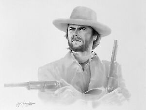 Clint Eastwood by Gary Saderup 13quot; x 17quot; Pop Art Charcoal Litho Print 1987 $29.99