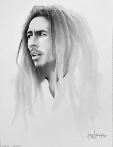 Bob Marley by Gary Saderup 13quot; x 17quot; Pop Art Charcoal Lithograph Print 1988 $29.99