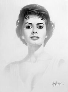 Sophia Loren by Gary Saderup 13quot; x 17quot; Pop Art Charcoal Lithograph Print 2013 $29.99