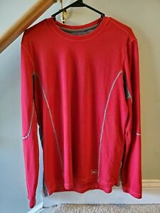 REI Mens Quick Dry Shirt Red Long Sleeve Size Large Run Hike Base Layer $16.49
