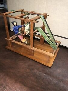 Vintage Antique Wooden Counterbalance Loom With Woman Weaving Very Detailed