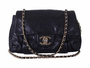 CHANEL Black Leather Small Classic Flap Gold CC Chain Crossbody Bag