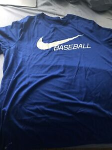 NEW NIKE BSBL Dry Fit Shirt Size XL Mens Royal Blue DRI FIT Baseball Tee $20.00
