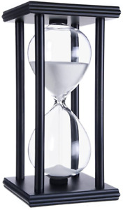 60 Minute Hourglass Wood Sand Timer White Sand Black Frame for Decorating Office $20.73