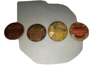 Vintage Pennsylvania PA Fishing License Pin Back Button Lot 47 48 49 50