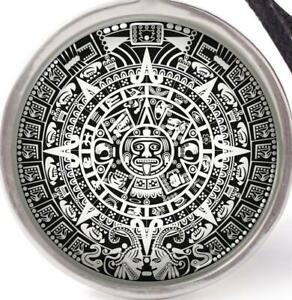 CALENDAR AZTEC MAYAN pendant 925 Sterling Silver 20quot; necklace women female men