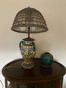 Italy hand painted vintage old table lamp vase shape $226.00
