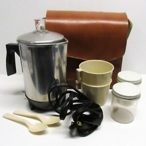 Vintage KOFFEEKIT Camp Coffee Pot Percolator 4 Cup w Travel Bag Mugs Canisters $19.99