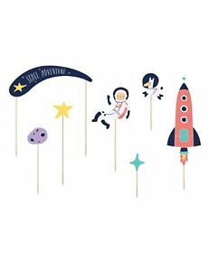 Luck and Luck Space Birthday Party Cake Food Toppers x 7 Rocket Astronaut S... GBP 16.10