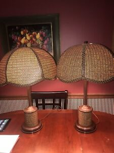 1970s MCM Retro Boho Rattan Wicker Cane Webbing Petal Light Lamps With Shades $59.00