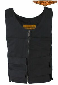 Men#x27;s Motorcycle Canvas Bullet Vest Front Zipper Closure Shoulder amp; Waist Straps $53.99