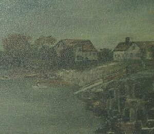 Antique Original Oil Painting Country Folk Art Primitive Nautical Seascape $68.00