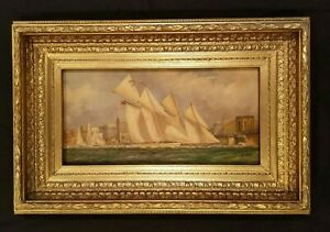 Sailboat Race Antique Painting In Gold Frame Original Ship Painting $949.00