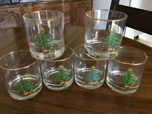 6 Vintage Christmas Tree Highball Drinking Glasses Tumbler Double Old Fashioned $25.00