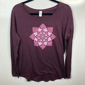 Soul Flower Long Sleeve T Shirt Womens Size S Maroon New Pink Flower Eco $16.95