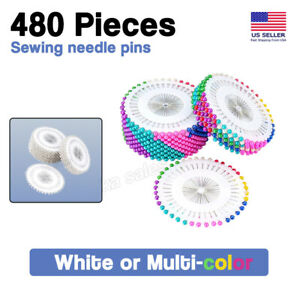480X Dress Wedding Crafts Pearl Round Head Straight Sewing Needles Pins Corsage $4.99