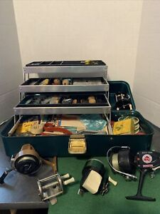 Ditch fishing reels and tackle box