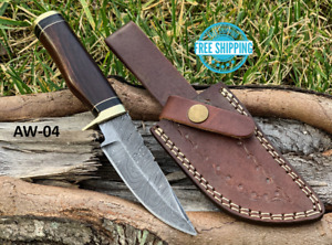 Custom HAND FORGED DAMASCUS STEEL HUNTING KNIFE Natural Wood Brass Guard Handle $23.99
