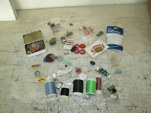 Misc Lot of Sewing Supplies Thread Buttons Bobbins Needles $9.99