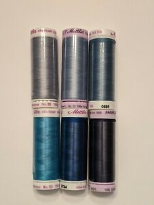 Mettler Sewing Thread 50wt Cotton Silk Finish #9105 Assorted Color Set of 6 $16.50