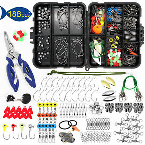 US 188PCS Fishing Accessories Kit with Tackle Box Tools Pliers Jig Hooks Swivels