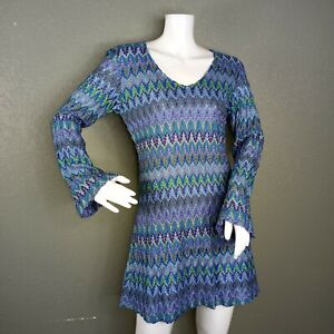 NWT Vintage EXPRESS Tricot Zig Zag Knit Overlay Dress Size Small Long Sleeves $35.00