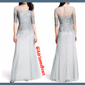 NWD Adrianna Papell Beaded Illusion Bodice Mesh Gown MIS Grey SZ 14 #N758 $89.99