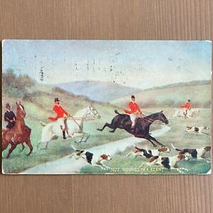 Vintage 1909 Art Card Hounds on a Scent Hunting Postcard