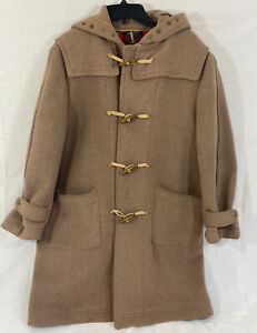 Vintage Loden King Womens Tan Long Coat Hooded Toggle Size 38 Original Germany $87.77
