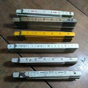6 VINTAGE FOLDING RULERS MIXED MAKER#x27;S amp; COLORS 2 BROKEN FOR ARTS amp; CRAFTS $26.00