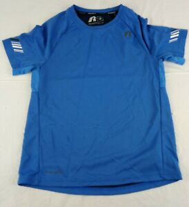 Russell Dry Fit Shirt Youth Boys Size Large 10 12 Active Blue Short Sleeve Top $9.99
