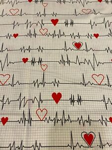 Calling All Nurses EKG Heartbeat White Fabric 18quot; x 44quot; Same Day Shipping
