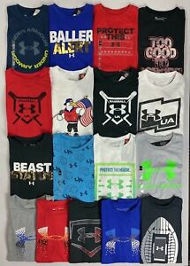 Boy#x27;s Youth Under Armour Heat Gear Loose Cotton Polyester T Shirt
