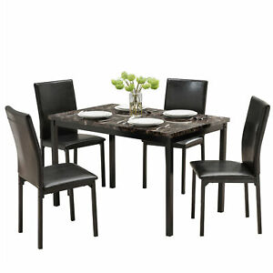 5 Piece Faux Marble and PU Leather chairs Dining Table Set $185.00