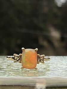 Solid 10K Yellow Gold Vintage Opal and Citrine Ring Size 8 ESTATE FIND $175.00