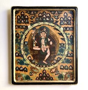 Antique Canvas Mounted Buddhist Tibetan Thangka Painting in Black Lacquer Frame $295.00