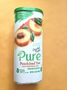 PURE CRYSTAL LIGHT PEACH ICED TEA 5 PACKETS EXP. AUG. 2022 $2.79